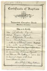 Patrick Lynch, Certificate of Baptism